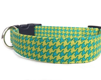 Houndstooth Dog Collar / Chartreuse Dog Collar / Blue & Yellow-Green Dog Collar / Houndstooth Collar / Preppy Dog Collar / Adjustable Collar