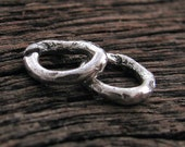 Silver Artisan Jump Rings - 4 Small and Chunky Links -   Sterling Silver O Rings OPEN 14 Gauge 9mm, AC143a