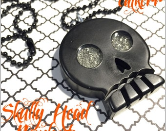 Skully Head Resin Pendant with Black Ball Chain