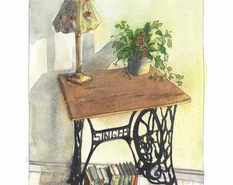 """Watercolor-Art print-Singer sewing machine with flowers"""" print"""