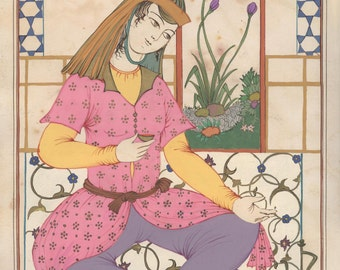 Persian painting /Temperance/Marseille Tarot card / Tarot Print / oriental painting/persian painting print