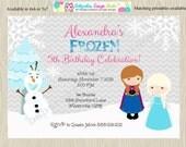 Frozen Birthday Party Invitation , Invite, Anna, Elsa, Ice Princess, Frozen party birthday invitation, frozen party invitation, printable