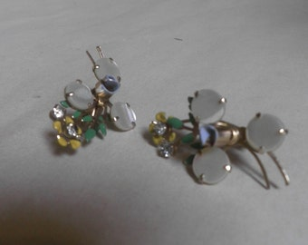 unusual Vintage Earrings, screwback