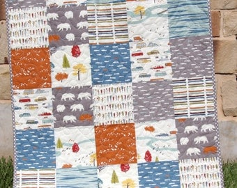 Boy Quilt, Organic Birch Fabric, Woodlands Forest, Modern Boy Blanket, Feather River Blue Orange Grey Gray, Bear Fish Fishing Trees, Nursery