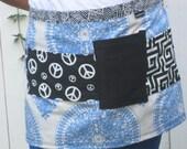 Cornflower blue half apron, black and white pockets, heavy canvas, bistro, gardener, teacher