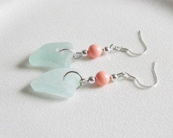 Sterling Silver Seafoam Green Sea Glass Earrings - Genuine Beach Glass Jewelry - Coral Swarovski Pearls - Chesapeake Bay Seaglass