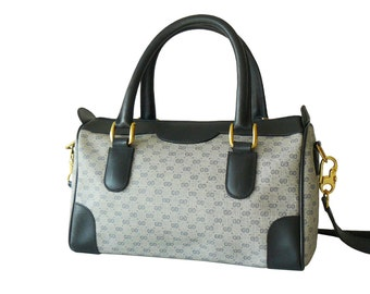 Gucci Navy Blue Signature GG Web Pattern Boston Speedy Doctor Shoulder Bag Made in Italy