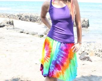 Tie Dye Knee Length Skirt Convertible to Top