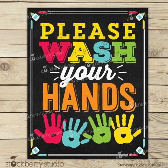 Wash Your Hands Sign Printable - Kids Bathroom Art - Wash Hands Sign ...