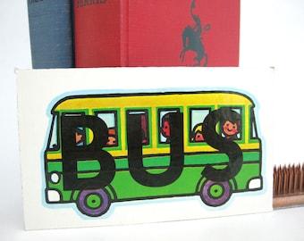 Vintage School BUS Picture Word SAVE Tile Flash Cards Craft Art Supply Childrens Shelf Decor