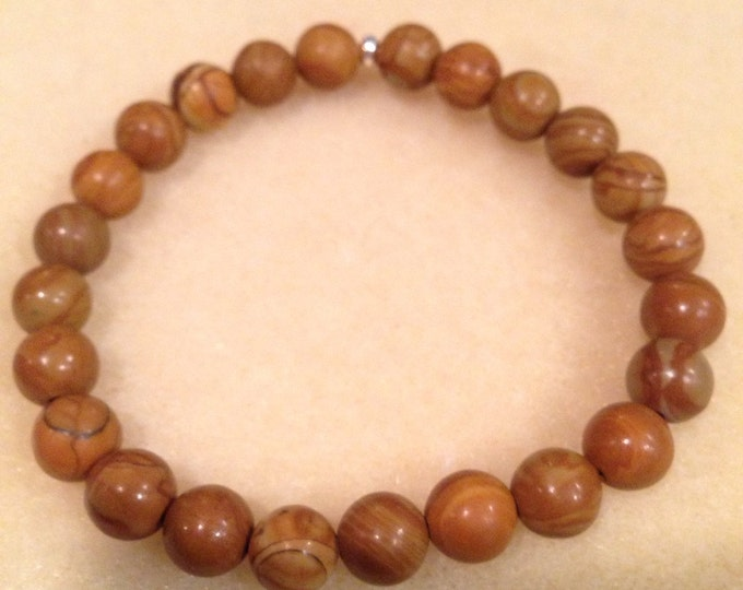 Walnut Wood Jasper 8mm Round Stretch Bead Bracelet with Sterling Silver Accent