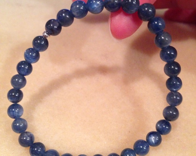Blue Kyanite Round 6mm Bead Stretch Bracelet With Sterling Silver Accent