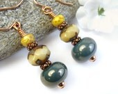 Blue Teal Lampwork Earrings, Beaded Dangle, Czech Glass, Copper, Handmade
