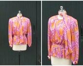 OLEG CASSINI Vintage 1980's Floral Sherbet Blouse   80's Silk Top with Scarf and Belt   Vintage Designer   Size Small