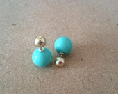 Double Sided Earrings-Fake Gauges, turqoise and golden