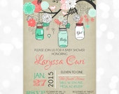 Mason Jars Baby Shower Invitation - Baby Girl Coral Mint Floral Rustic Whimsical Illustration DIY Printable Invite PDF (Item #124)