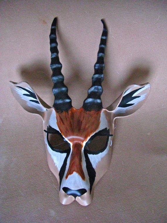 antelope gazelle leather mask deer antlers buck horns