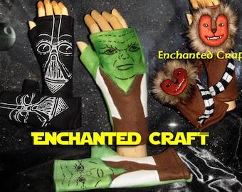 Fleece Fingerless Gloves for Star Wars Fans- choose YODA, CHEWBACCA, Darth Vader