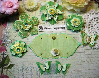 Light Mint Green and Ivory Handmade Paper Embellishments Paper Flowers for Scrapbook Layouts Cards Mini Albums Tags and  Paper Crafts