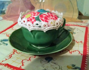 vintage teacup pincushion
