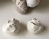 Set of 2 White porcelain Frogs for home decoration glazed finished