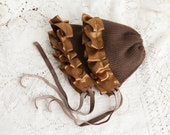 TWIN  HATS, twin bonnets, Twin  Set, photography prop, baby bonnets, twin set, brown baby bonnets, rustic photo shoot, upcycled cashmere hat