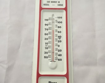 Vintage Russell Monument Company Sign & Thermometer