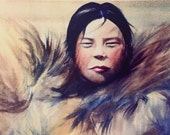 Eskimo woman watercolor digital print