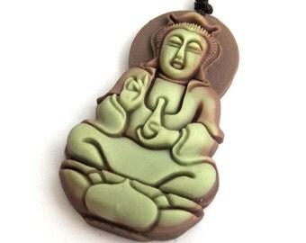Carved Tibetan Buddhist Kwan-Yin Pu-Sa Talisman Pendant Two Layer Natural Stone 44mm*25mm  ZP075