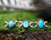 Double Moon Rings. Natural Turquoise Rings.