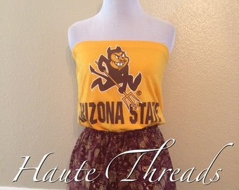 Romper - Arizona State ASU Sundevils Football Strapless One-Piece Romper - Size Small - Made from up cycled t-shirt