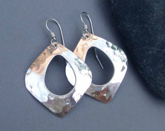 Hammered Sterling Silver Dangle Earrings Abstract Teardrop Hoop Earrings Textured Metal Earrings Artisan Handmade Modern Jewelry
