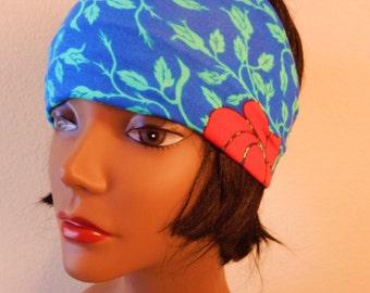 Womens Yoga Headband, turban, workout, roses ,Fitness gear, boho
