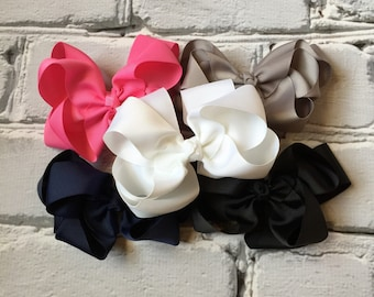 """Boutique Baby Girl Hair Bow Clip attached to alligator clip. Toddler bows girls bows 5"""" Double Layered Hairbows Hair Clips set of 5 bow"""