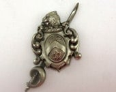 Vintage Silver Tone Pewter Coat of Arms Pin Brooch Marked SILVERART