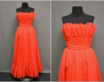 1980s Mike Benet Red Ruffled Metallic Dot Strapless Gown