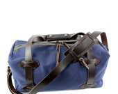 """NEW!!! - 21"""" Medium Travel Duffel - Water Resistant Roomy Cotton Duck - Navy - Made in the USA"""