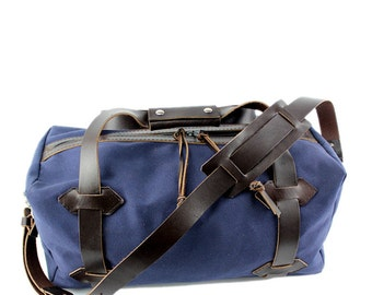 "NEW!!! - 21"" Medium Travel Duffel - Water Resistant Roomy Cotton Duck - Navy - Made in the USA"