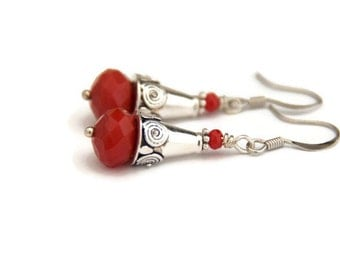 Red earrings, ethnic earrings, tribal jewelry, silver earrings, bohemian jewelry, gifts for her, gifts under 20