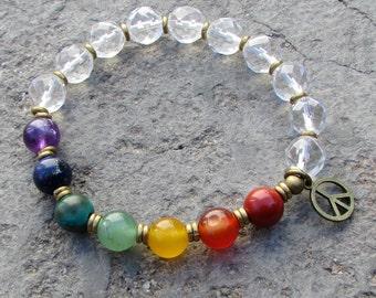 Genuine Chakra Gemstones and Quartz Crystal bracelet