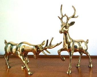 Vintage Pair of Brass Deer Stags. Hollywood Regency Glamour and Style