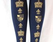 Crown Print Gold Navy Tights Small Medium 80 Denier Dark Blue Printed Womens Royal Victorian Lolita