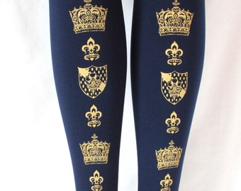 S M Crown Navy Tights Small Medium 80 Denier Gold Navy Dark Blue Printed Womens Royal Victorian Lolita