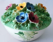 Covered Bowl with Decorated Flower Lid