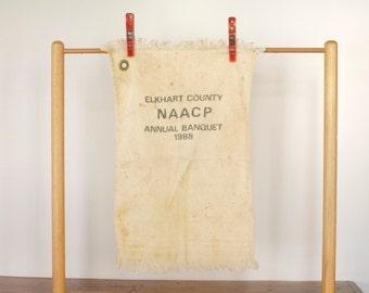 Vintage NAACP souvenir towel, Elkhart County Indiana Annual Banquet 1988, 1980s terrycloth hand towel, civil rights, African American, black