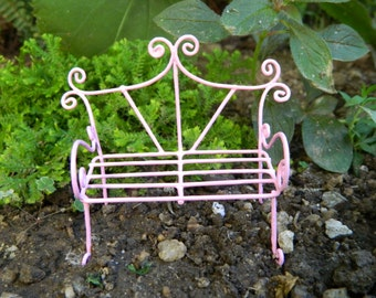 Fairy Garden Bench Miniature Furniture fairy Accessories Miniature Pink Bench Miniature Garden AccessoriesDollhouse Miniature