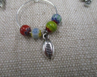 football wine glass charm