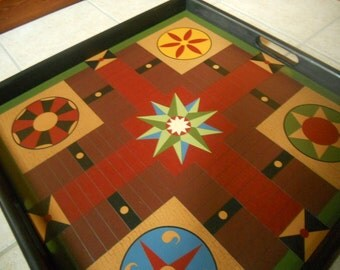 """25"""" Parcheesi, Tray Frame, Game Board, Game Boards, Wood, Wooden, Folk Art, Primitive. Hand Painted"""