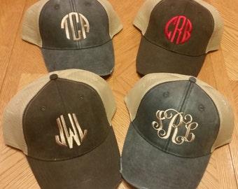 Monogramed Distressed Trucker Hats