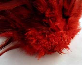40 assorted red feathers loose saddle half bronze Dyed 3 to 6 inches  K76